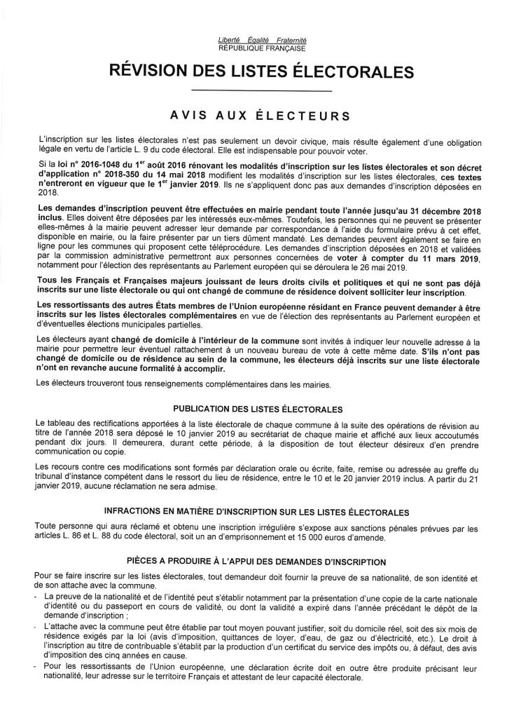 révision des liste élec